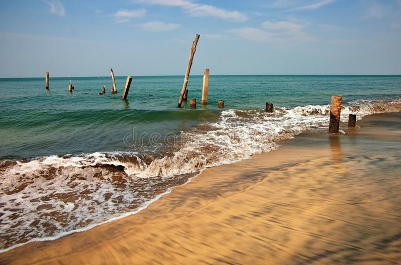 Download Old jetty pillars in sea stock image. Image of wood, wooden - 24721773