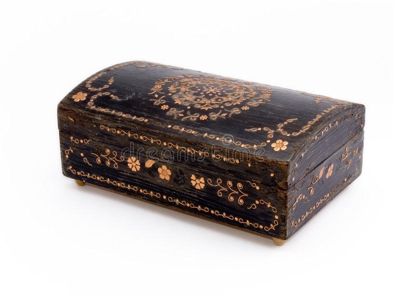 Old jewelry box royalty free stock photo
