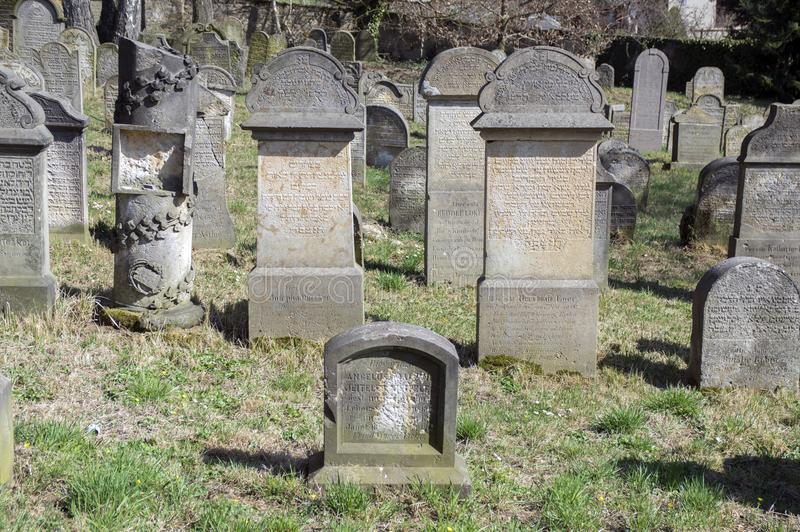 Old Jewish Cemetery in Horice town is very large and well-preserved. Horice town / Czech republic Old Jewish Cemetery in Horice town is very large and well royalty free stock image