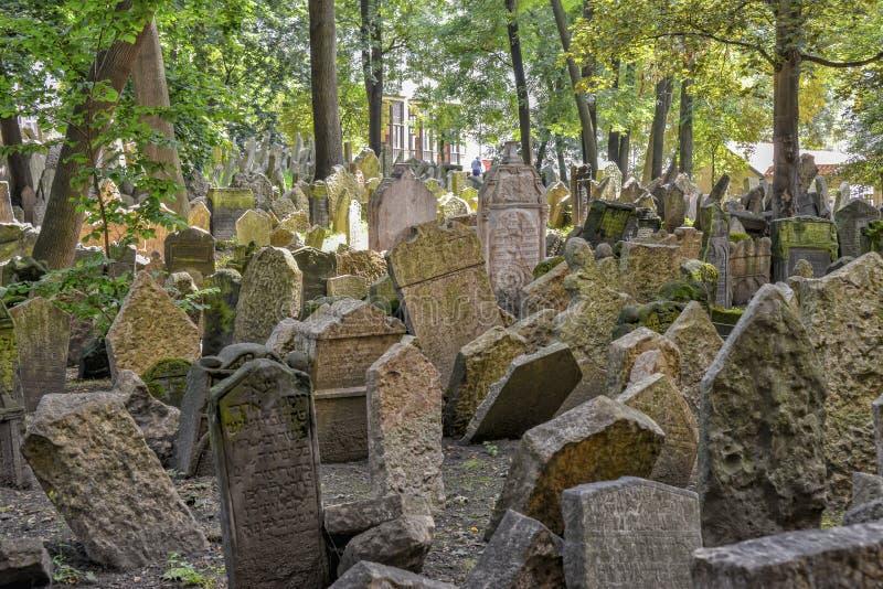 Old Jewish cemetery in Josefov, Prague, Czech Republic royalty free stock photography
