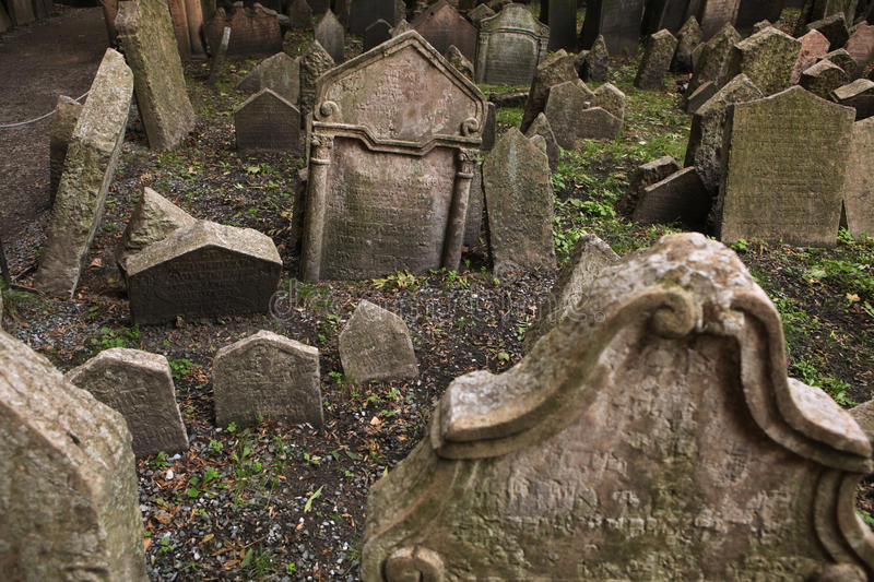 Old Jewish Cemetery In Prague, Czech Republic. Stock Photo