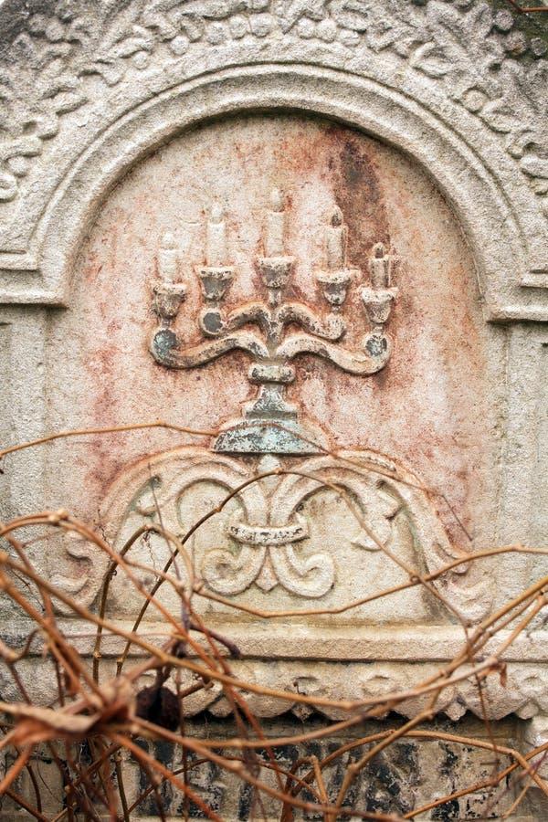 Jewish Headstone Flowers Stone Symbol Embem Background Cemetery Old
