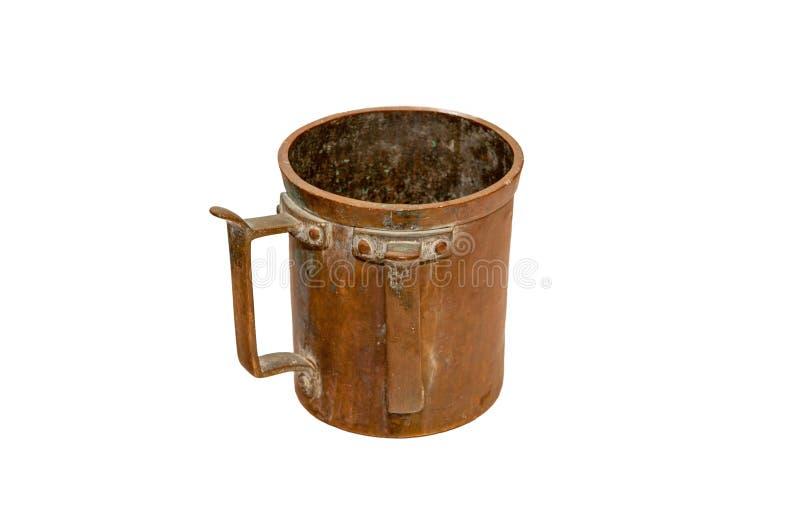 Old Jewish mug with two handlest isolated on white background stock photo