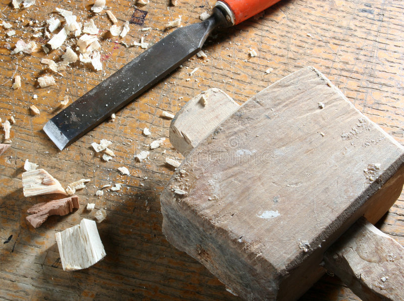 Old joinery tools. Close-up of old joinery tools on workbench stock image