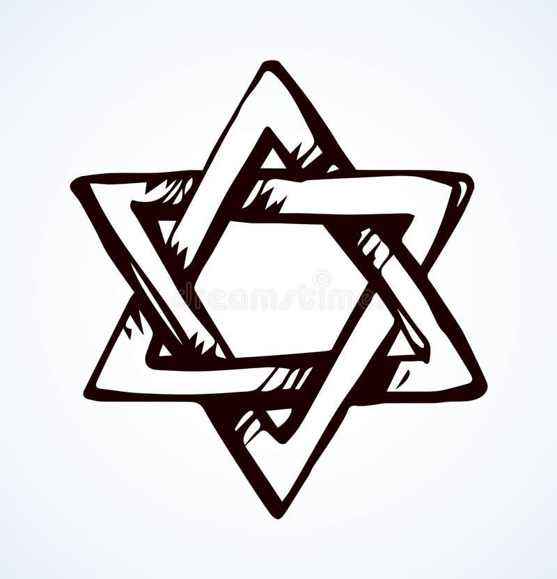 Menorah. Vector drawing. Old judaic chanukah heritage souvenir. Freehand line black ink hand drawn hanuka picture logo emblem sketchy in retro art doodle cartoon stock illustration