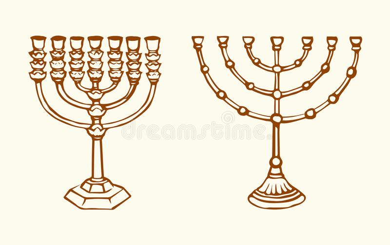 Menorah. Vector drawing. Old judaic chanukah heritage souvenir. Freehand line black ink hand drawn hanuka picture logo emblem sketchy in retro art scribble vector illustration