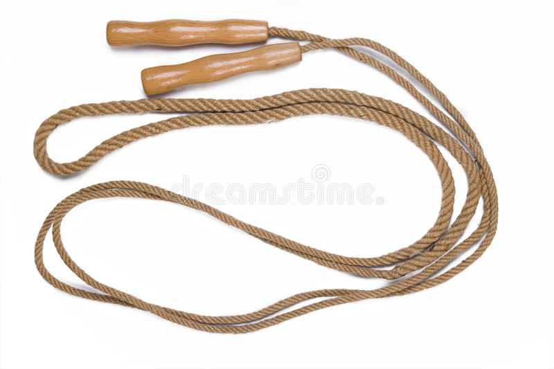 Old jump rope. Isolated on white background stock image