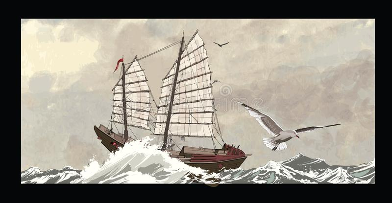 Old junk on a rough sea. Vector illustration stock illustration
