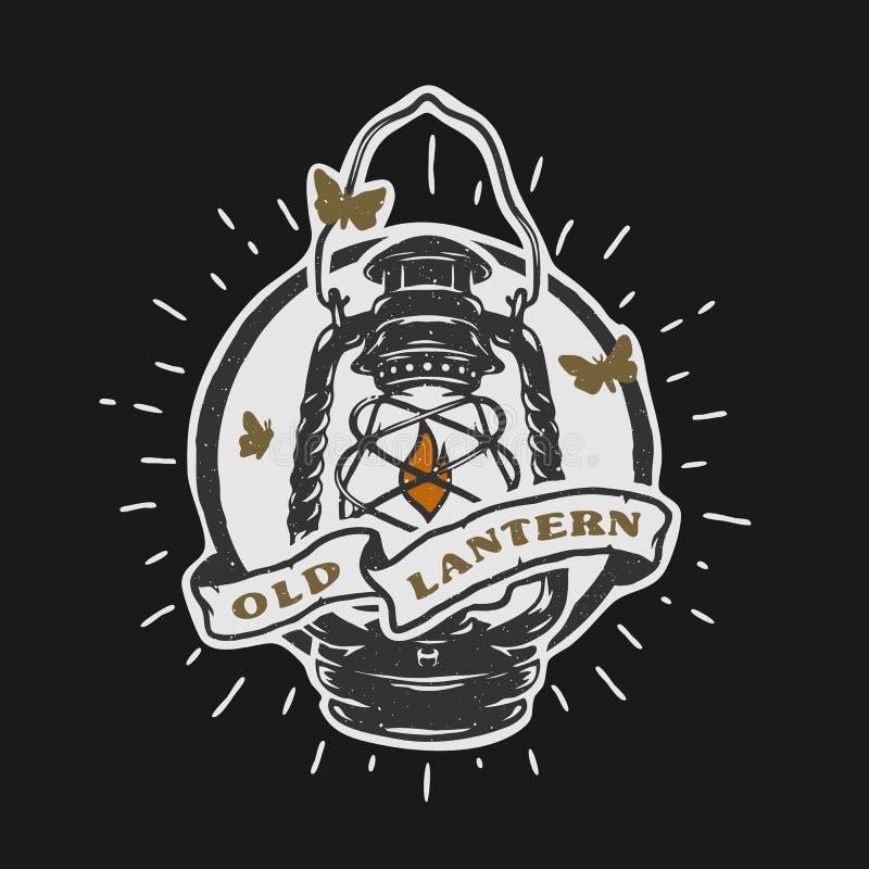 Old kerosene lamp. Vintage emblem. stock illustration
