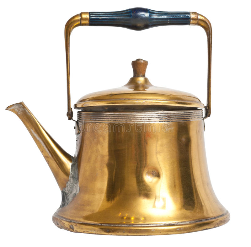Old kettle isolated. Golden kettle isolated with clipping path stock image