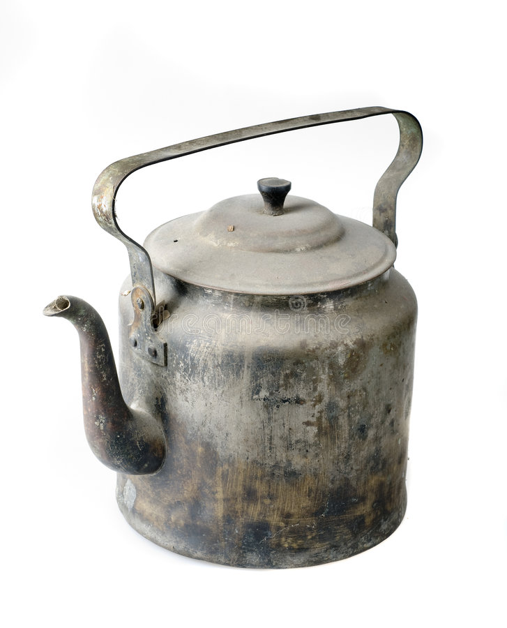 Old kettle over white royalty free stock photography