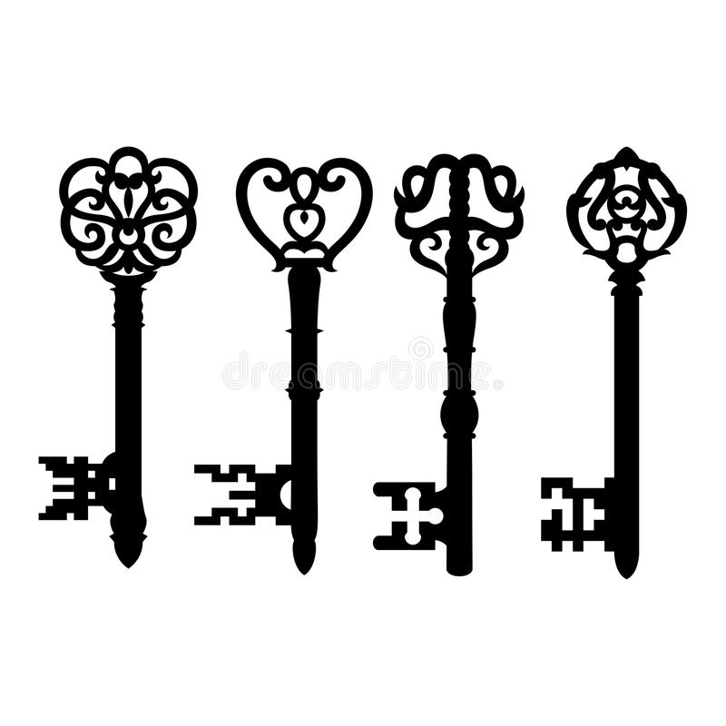 Old key collection royalty free illustration