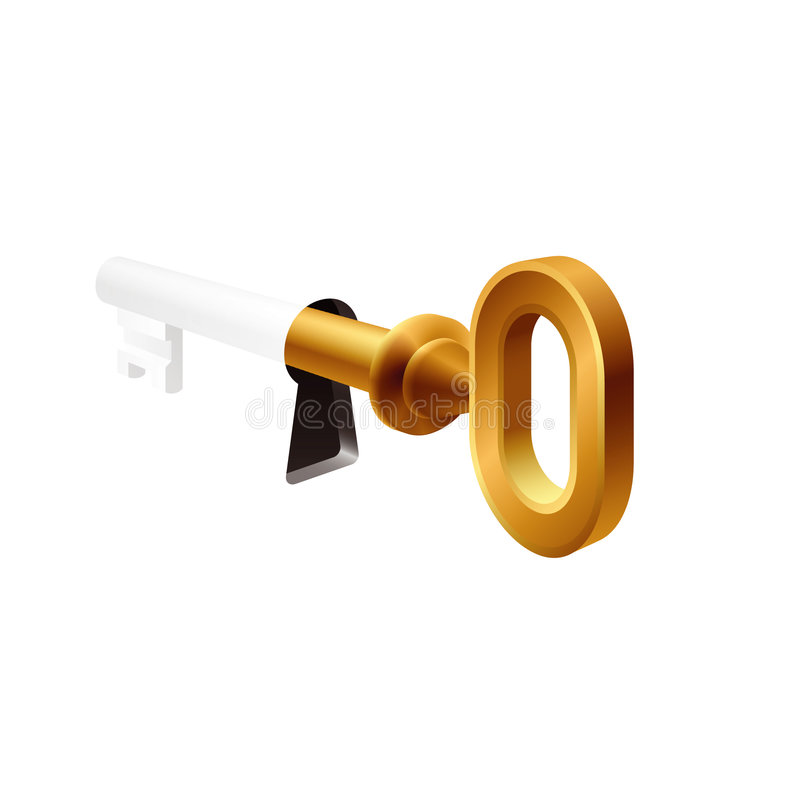 Old key in a keyhole vector illustration