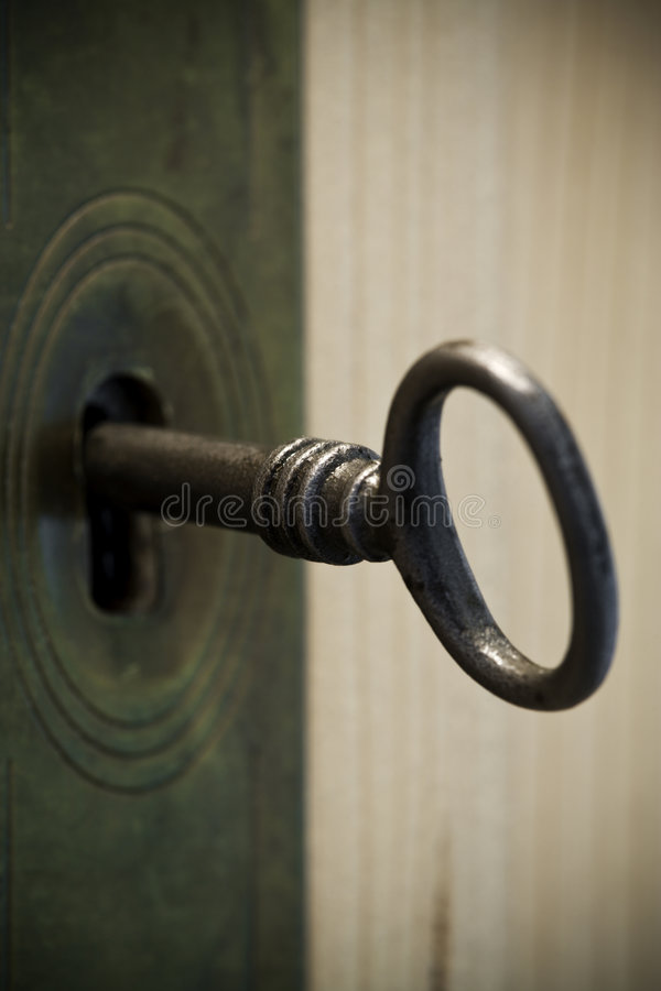 Download Old key in lock stock photo. Image of safety, opening - 9044604