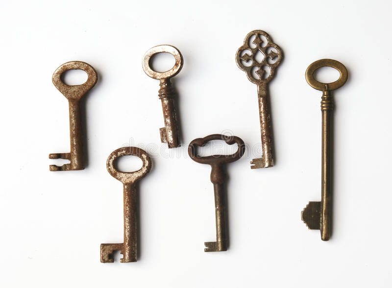 Old keys. Collection of old rusty keys royalty free stock photos
