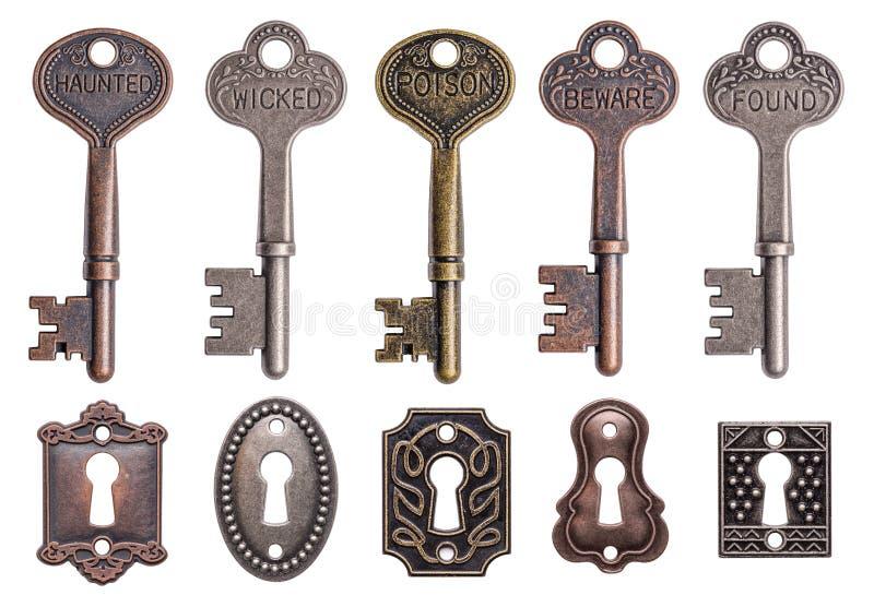 Old keys and keyholes royalty free stock image