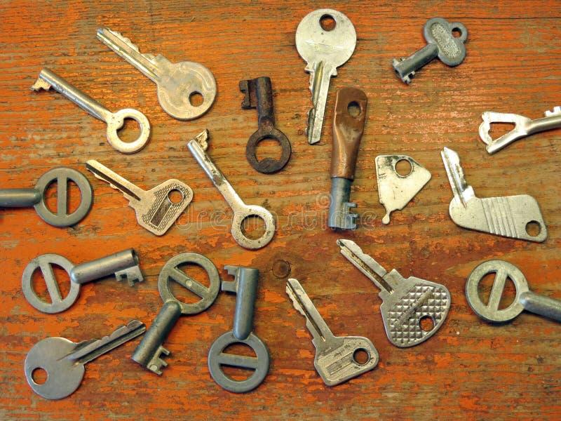 Old keys. Old metallic keys on the desk stock images