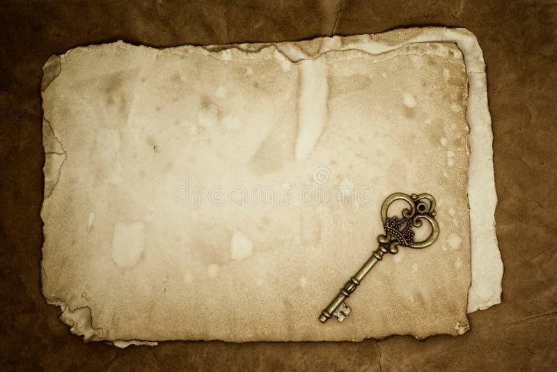 Old keys on old paper background stock image