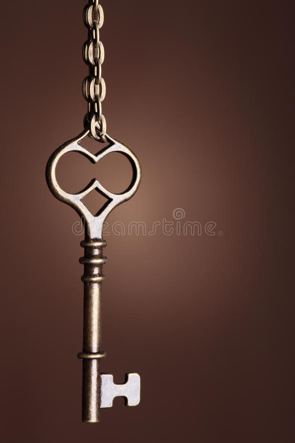 Old keys. Picture of an old keys on a brown background stock photos