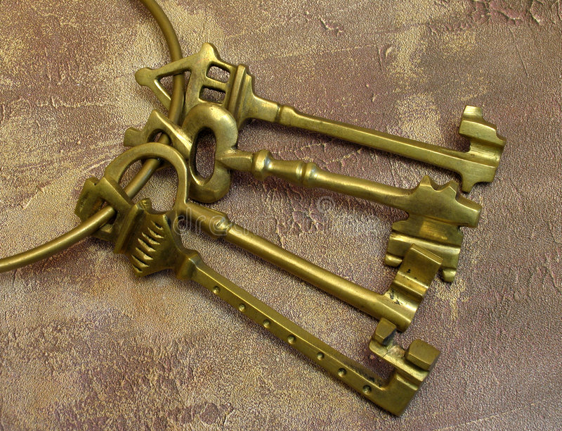 Old keys on ring stock photo