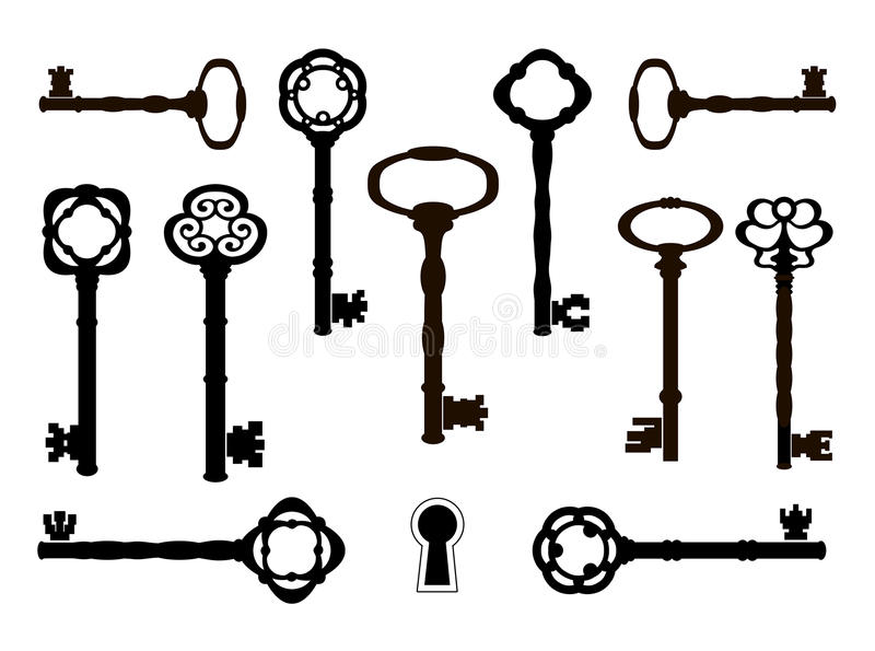 Old keys silhouettes. Retro design royalty free illustration
