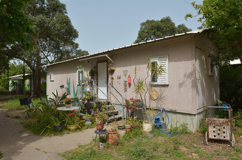 Old kibbutz house. MAAGAN MICHAEL, ISR - APR 2015:An old kibbutz house in Kibbutz Maagan Michael, Israel.It�s a collective community traditionally based on stock photo