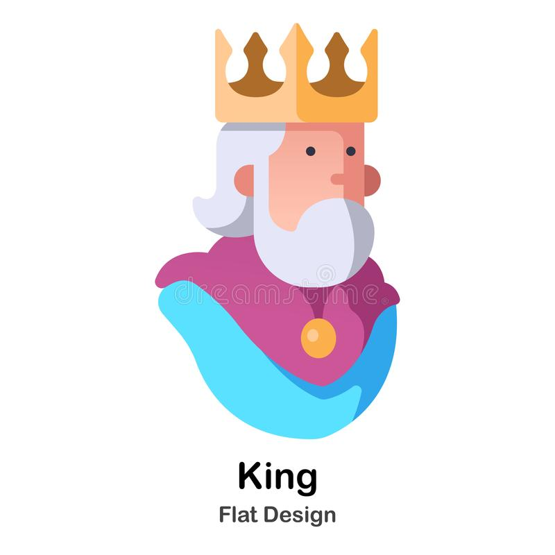 King Flat Icon. Old king with golden crown flat color design vector illustration royalty free illustration