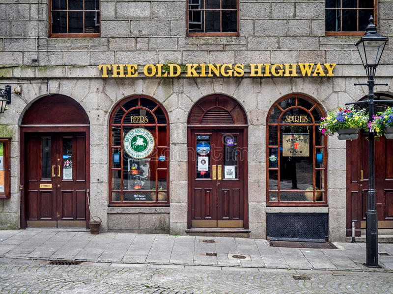 The Old Kings Highway pub, Aberdeen. ABERDEEN, SCOTLAND: JULY 23: Exterior facade of the The Old Kings Highway pub in the evening on July 23, 2017 in Aberdeen royalty free stock image