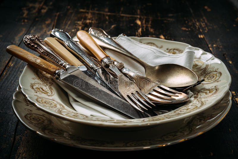 Old kitchen utensils stock photography