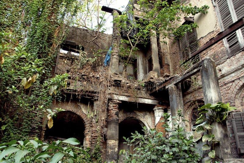 Old Kolkata. January 08.2011 Kolkata,West Bengal,India,Asia-A ruin palace of the old Kolkata stock photography