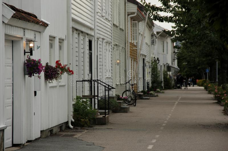 Old Kristiansand. The white wooden houses of old Kristiansand, Norway stock image