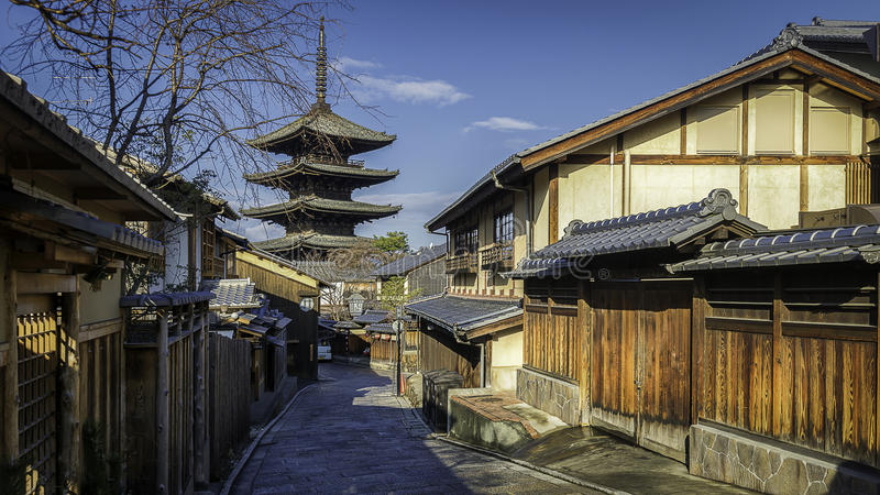 Old Kyoto. Kyoto Higashiyama District, Kyoto, Japan taken back in Winter January 2017 has two most visited street in Japan that is Ninen Zaka and Sannen Zaka stock images