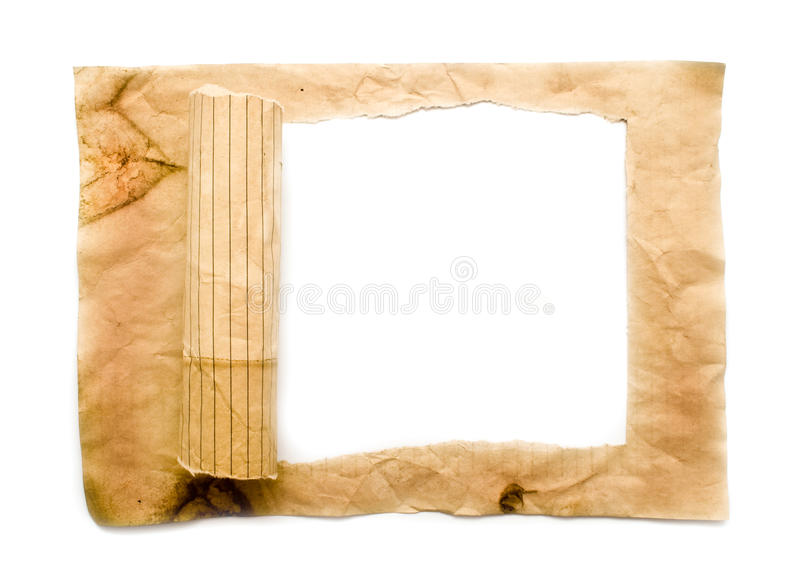 Old lacerated paper stock image