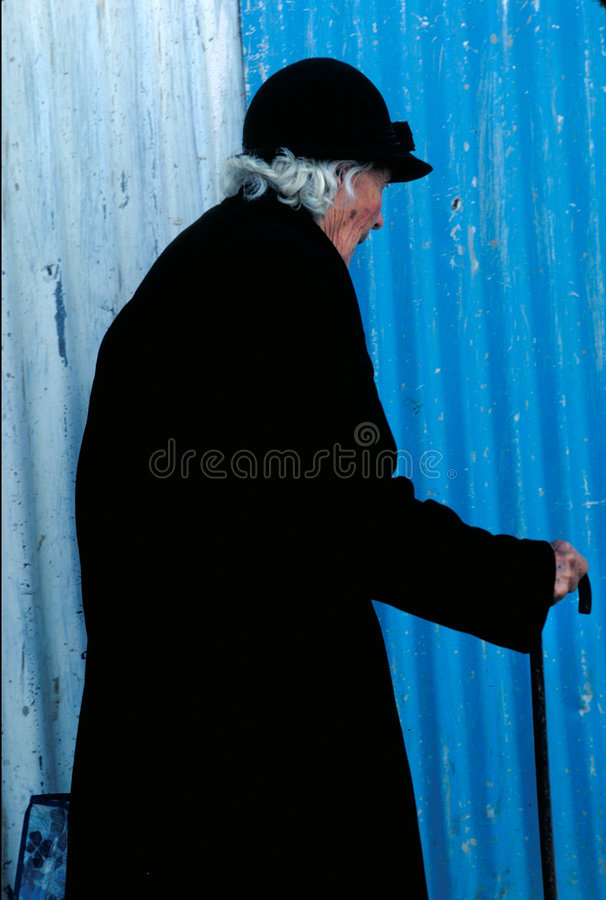 Download Old lady stock image. Image of aged, profile, black, shopping - 695479