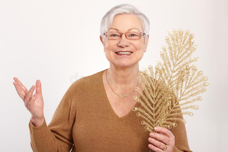 Old lady in christmas mood. Old lady smiling in christmas mood, holding golden branch of pine tree royalty free stock images