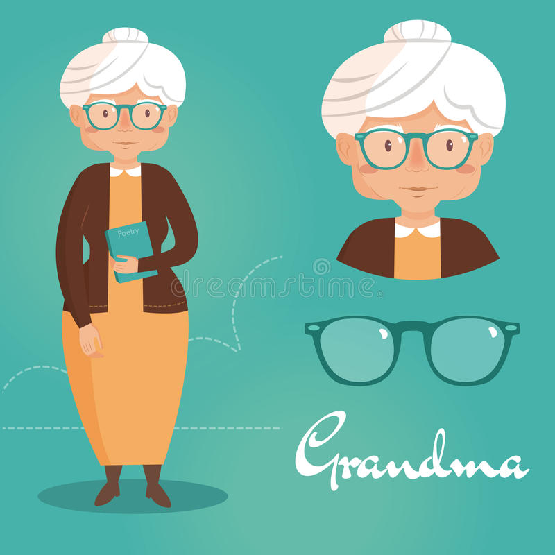 Old lady. Grandma. Grandma with a book and glasses. Vector isolated illustration. Cartoon character royalty free illustration
