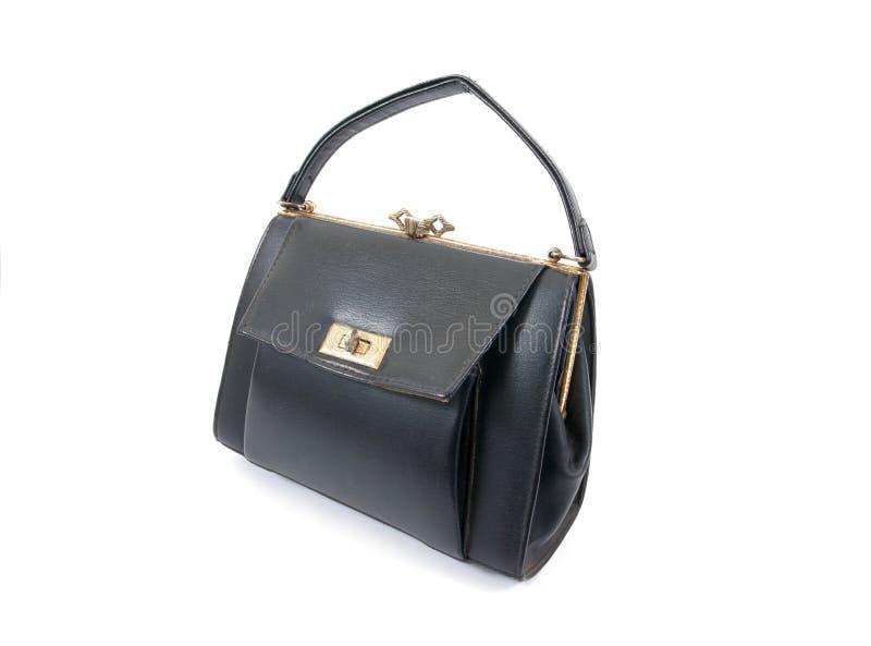 Vintage old lady handbag isolated on white background. Old leather lady handbag isolated. Background stock images
