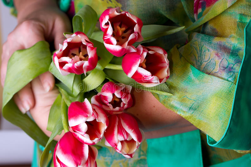 Download Old Lady Holding A Tulips Stock Photography - Image: 28930702