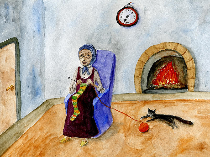 Download Old Lady Knitting Royalty Free Stock Photos - Image: 9652648