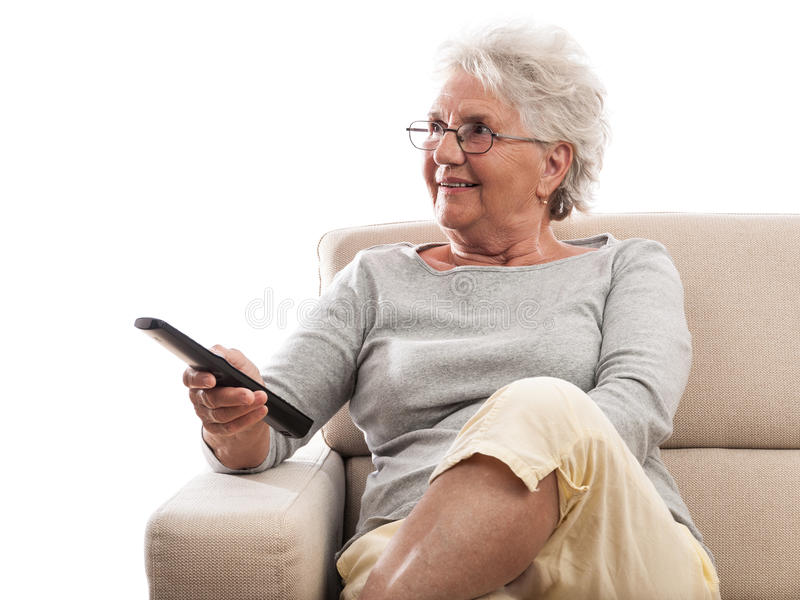Download Old lady remote control stock image. Image of lady, copyspace - 32623855