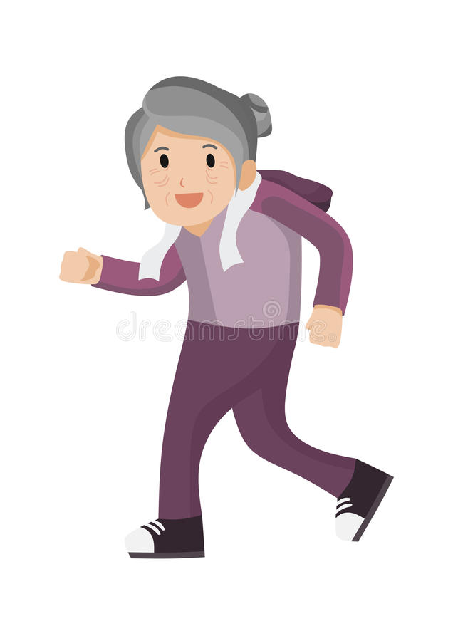 Old lady running. Isolated illustration vector illustration