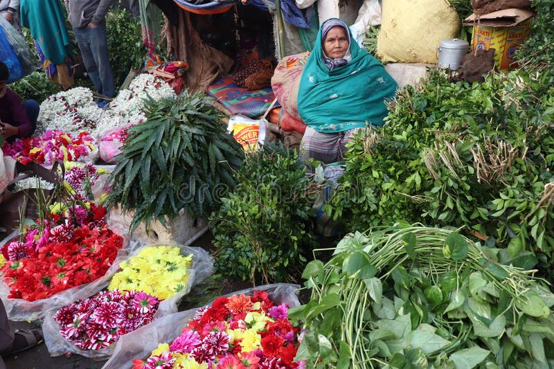 Old lady is selling flowers in Kolkata flower market royalty free stock images