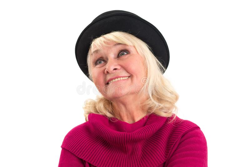Old lady smiling isolated. stock photo