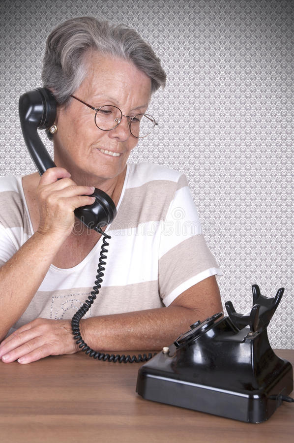 Download Old Lady Talking On Old Phone Stock Image - Image: 30768019