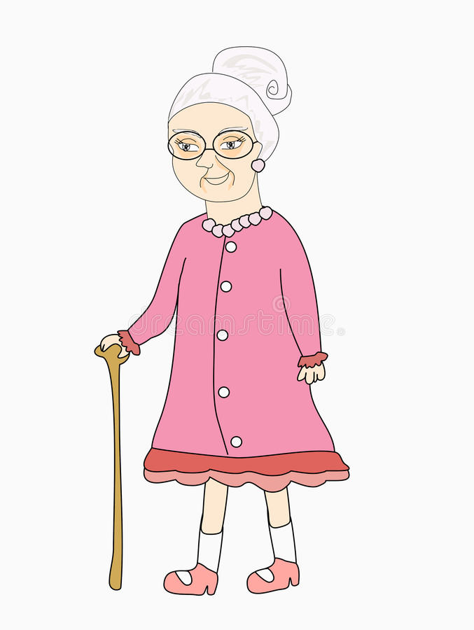 Old lady - Vector illustration royalty free illustration