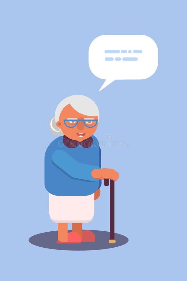 Old lady with walking stick flat design. Vector illustration royalty free illustration