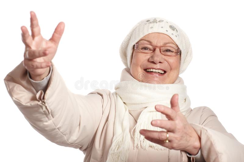 Download Old Lady At Winter With Open Arms Smiling Stock Photo - Image of cheerful, background: 29023410