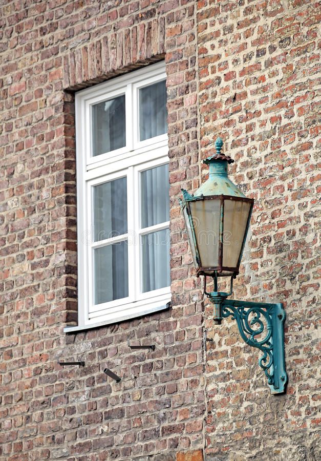 Old lamp at the building - Aachen, Germany stock image