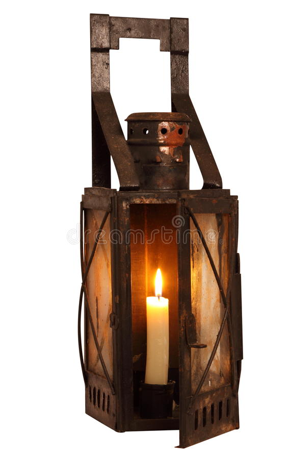 Old Lamp With Burning Candle Stock Image - Image: 20588351