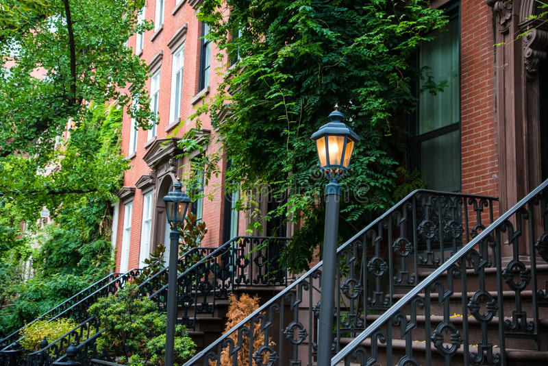 Old Lamppost Near Red Brick Apartments, New York City Stock Image ...